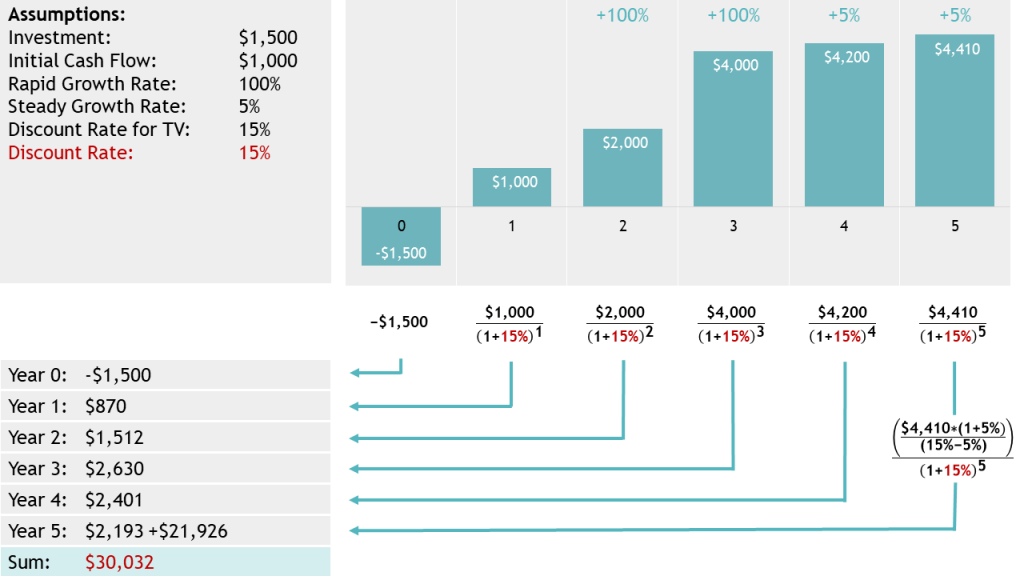 Graph and calculation of NPV example for a startup with a rapid and a steady growth phase